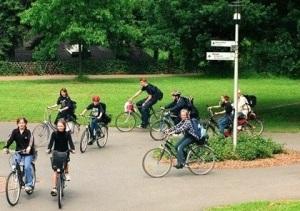 Radfahrer in Hamm, Fahrradkreisel an der Münsterstraße
